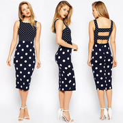 Women's Dot Dress Elegant Party Office Dress Slim Ladies Pencil Sheath