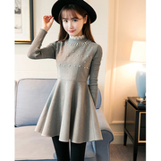 Women's Knitting Patchwork Lace Stand Collar Pearl Ball Gown Dresses